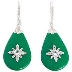 Miriam Salat Sterling Silver, Green Resin, and Topaz Starburst Earrings