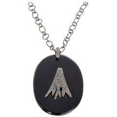 Boho Oxidized Sterling Silver, Black Diamond, and Onyx Necklace