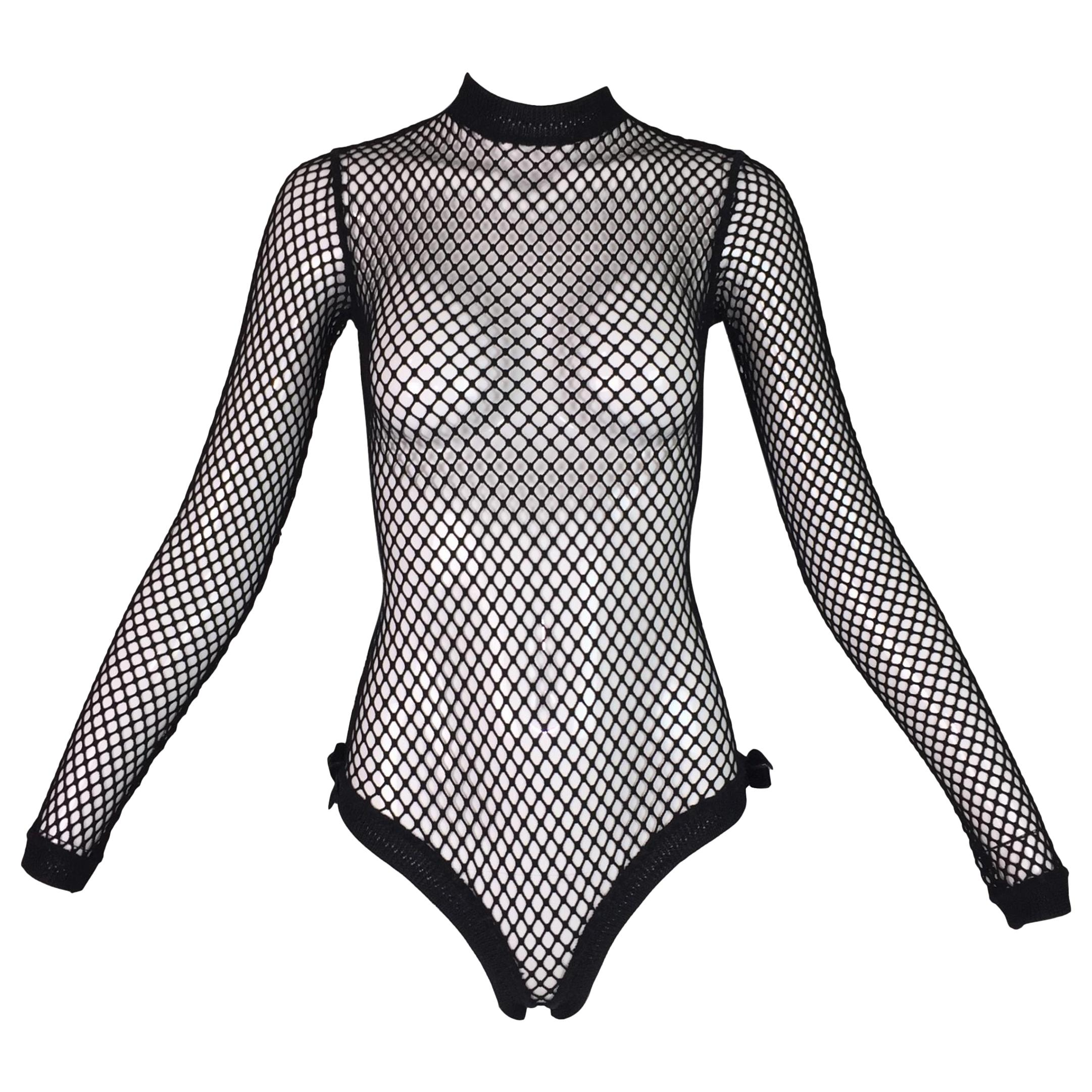 1993 Jean Paul Gaultier Pin-Up Black Fishnet Mesh Bow Bodysuit Top