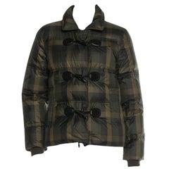 New Gucci F/W 2013 Green Plaid Down Coat Jacket Sz 44