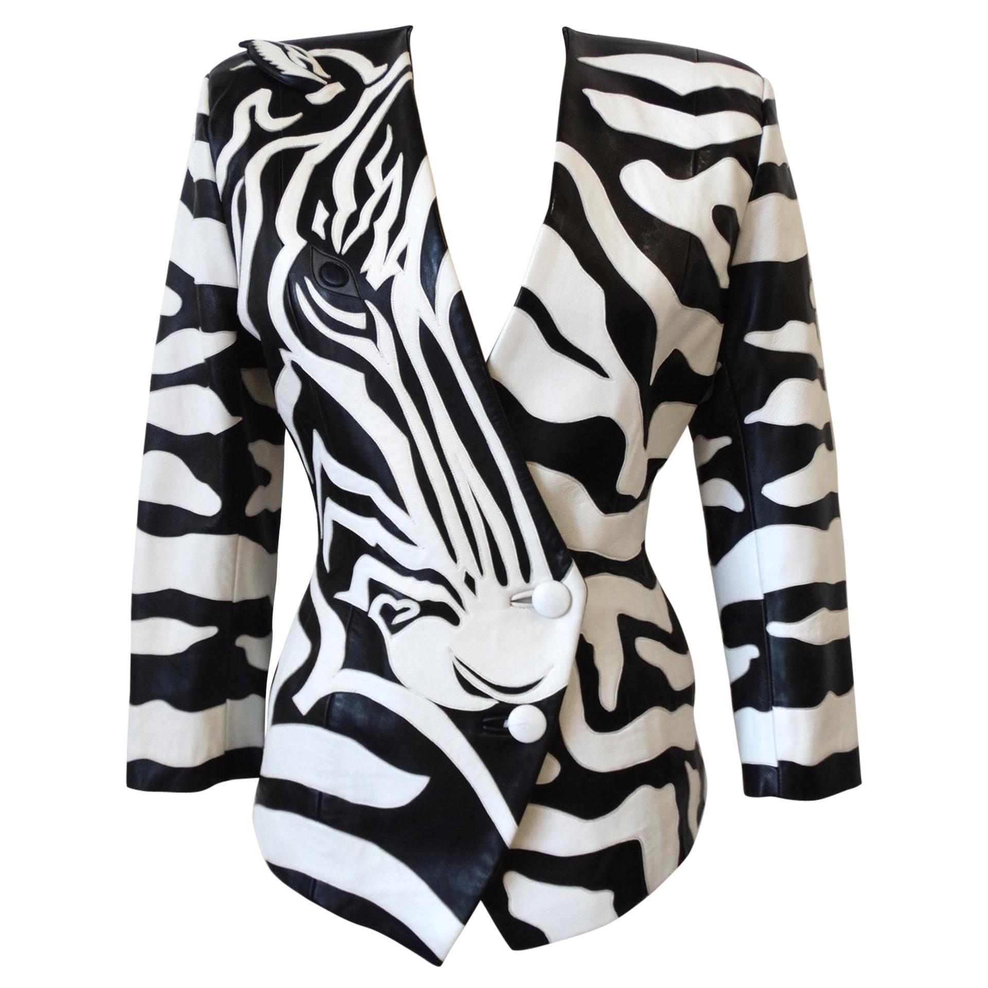 1980s Jean Claude Jitrois Zebra Leather Jacket