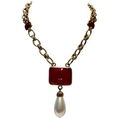 "Scarce Vintage Coco Chanel CC Pearl ""Sautoir"" Statement Necklace"