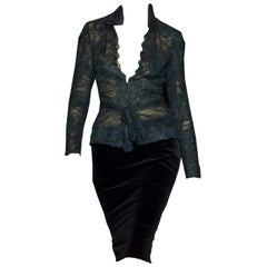 New Tom Ford For Yves Saint Laurent YSL F/W 2001 Velvet Runway Ad Skirt Sz Fr40