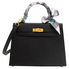 be165e90a950 Hermès Kelly 25cm HSS Black Epsom Brushed GHW Rose Pourpre Horseshoe