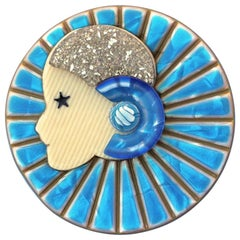 Lea Stein Turquoise, Blue and Silver Sparkle Full Collarette Brooch