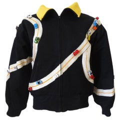 Rare Bob Mackie Toy Race Car Oversized Bomber Jacket