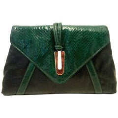 20th Century Leather & Python Clutch Handbag By, Harry Levine