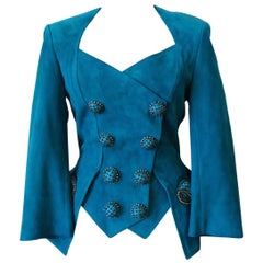 Jean Claude Jitrois 1980s Embellished Teal Leather Blazer