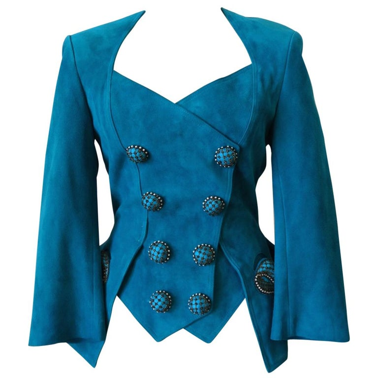 Jean Claude Jitrois 1980s Embellished Teal Leather Blazer For Sale