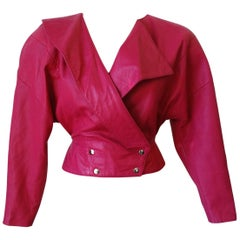 1980s Michael Hoban Hot Pink Cropped Leather Jacket