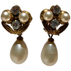 Vintage Coco Chanel Baroque Pearl Diamanté Statement Earrings