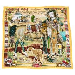 Hermes Yellow Les Cheyennes Scarf, Box