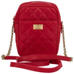 New Chanel Red Quilted Leather Reissue Crossbody Bag