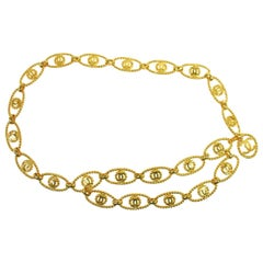 Chanel Metal Gold Charm Textured Logo Evening Waist Belt in Box