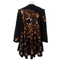 Jean Claude 1980s Leopard Motif Suede Leather Jacket