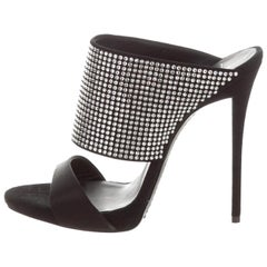Giuseppe Zanotti NEW Black Satin Suede Crystal Slide In Mules Evening Heels