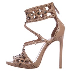 Alaia NEW Nude Tan Leather Gunmetal Stud Strappy Evening Sandals Heels