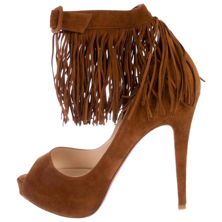 eef0c6fc284d Christian Louboutin NEW Cognac Suede Fringe Evening Heels Pumps in Box For  Sale at 1stdibs