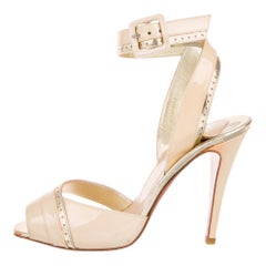 Christian Louboutin NEW Nude Gold Patent Leather Evening Heels Sandals