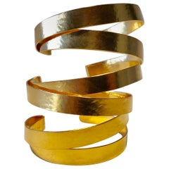 Architectural Modern Hammered Gilt Statement Cuff Bracelet