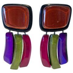 Architectural  Square Black Plexiglass Vintage Designer Statement Earrings