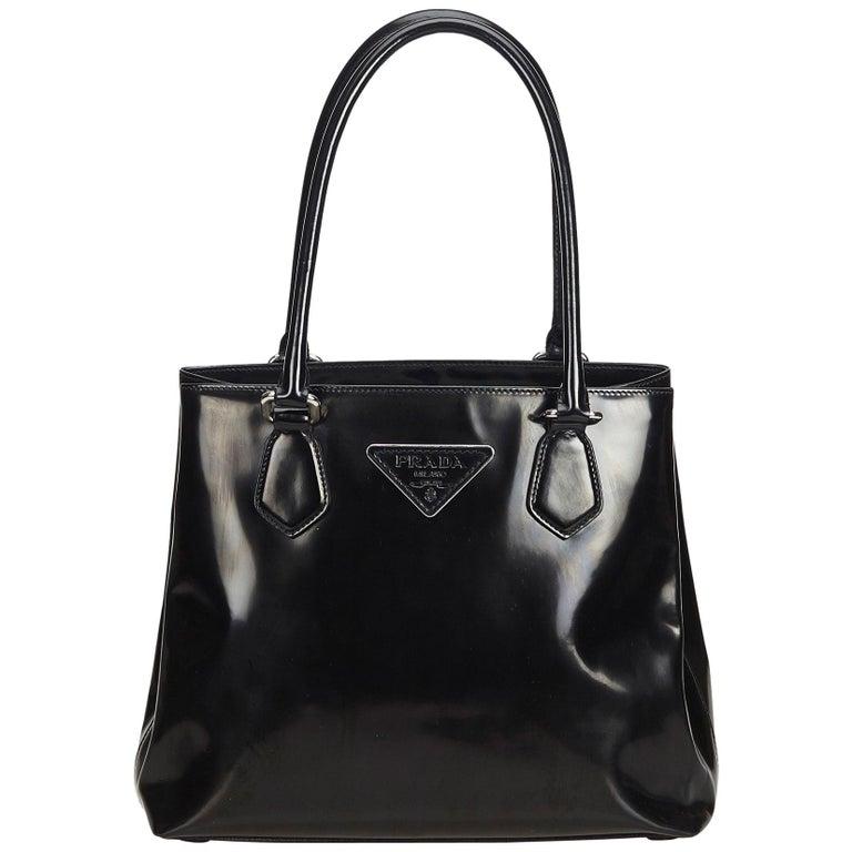06450dc48 Prada Black Patent Leather Tote Bag at 1stdibs