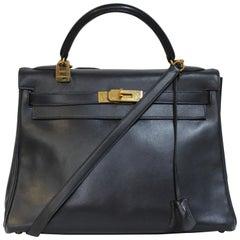 Hermes Kelly 32 Marineblau mit gold Hardware Leder Tasche Box & Zertifikat