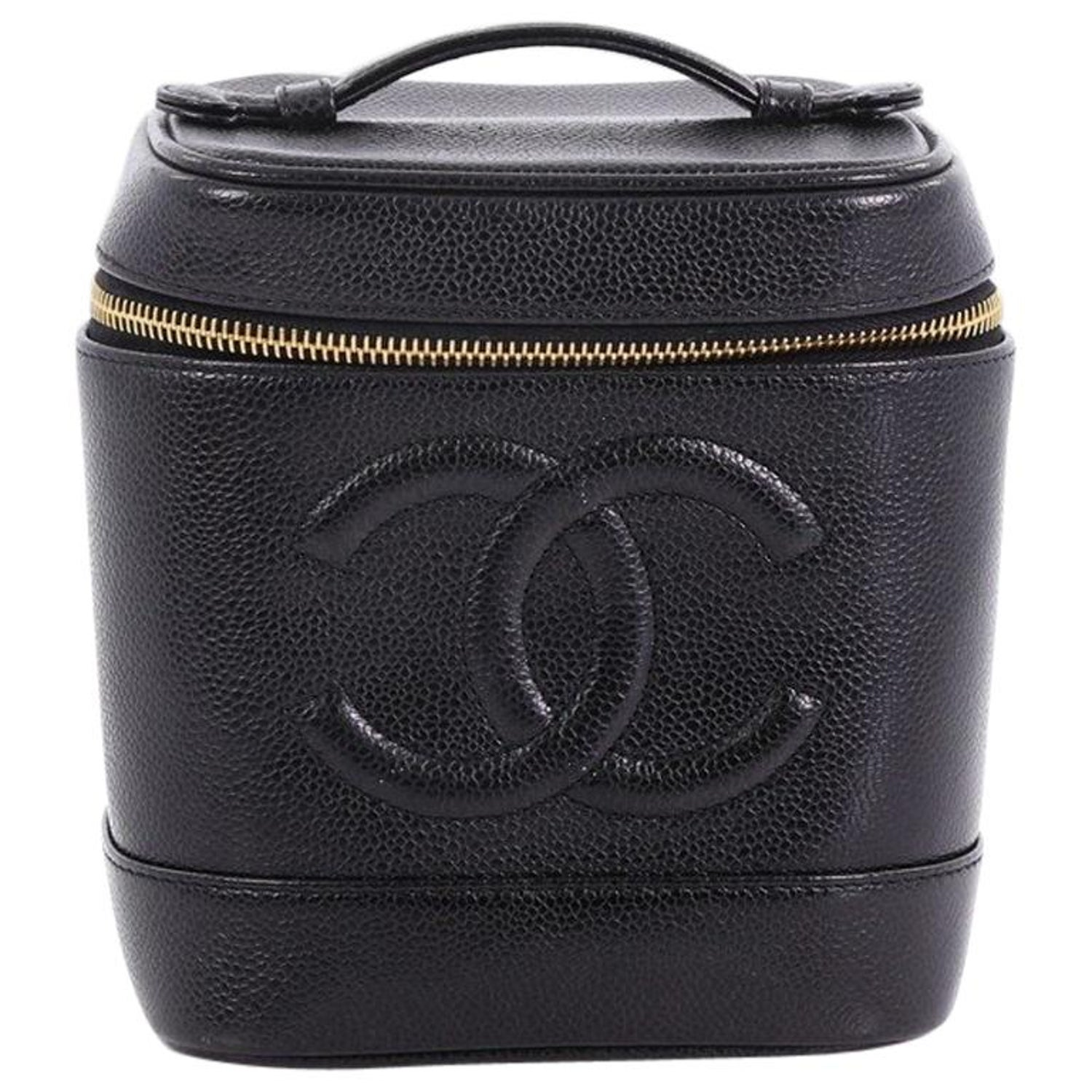 ee316b8a6e0be5 Chanel Vintage Timeless Cosmetic Case Caviar Tall at 1stdibs