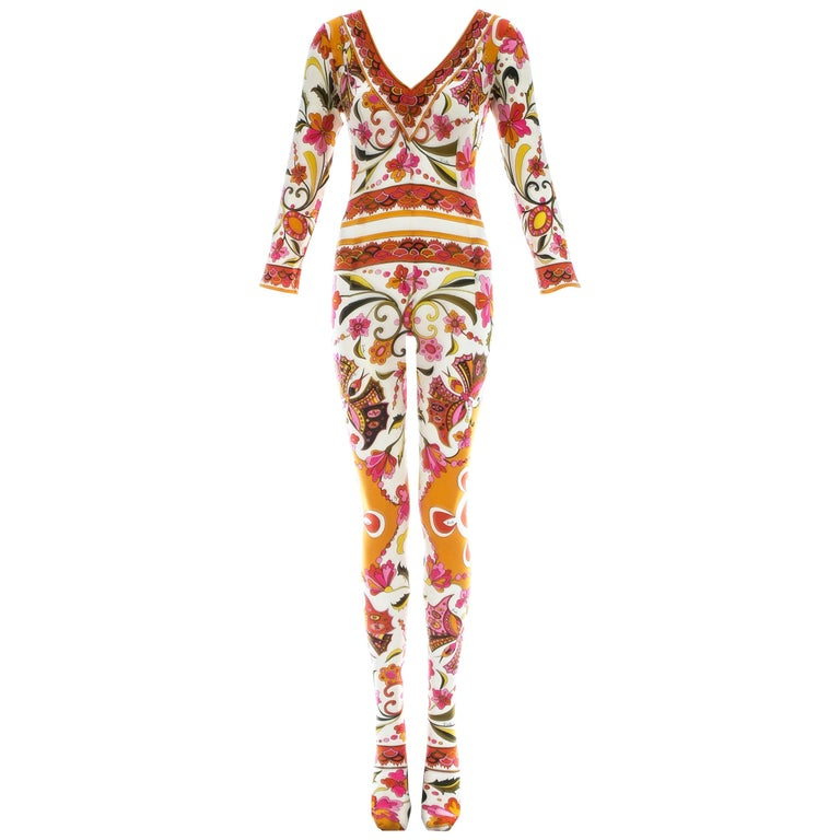 Emilio Pucci nylon floral printed body stocking, Spring-Summer 1966 For Sale