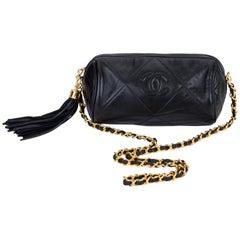 Chanel Vintage 1990's Black Leather Tassel Evening Bag
