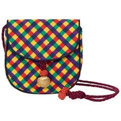 Vintage Bottega Veneta Colorful Ribbon Gold Shell Crossbody Bag