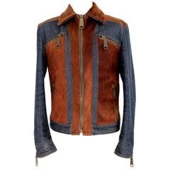 1990s Dolce & Gabbana Blue Brown Pony Leather Cotton Jacket