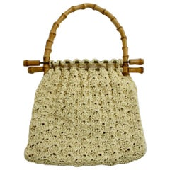 Off White Vintage Crochet  Bamboo Handle Bag 1960s Italy