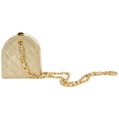 1980's Rare Chanel Gold Leather Evening Bag Crossbody