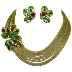 Circa 1960s Green and Topaz-Yellow Marquis Torsade Necklace And Earring Set