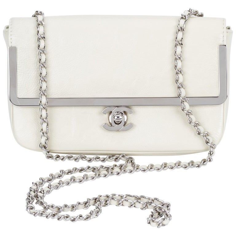 Chanel White Patent Leather Crossbody Bag For