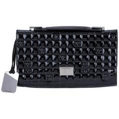 Chanel Black Patent Embossed Evening Bag