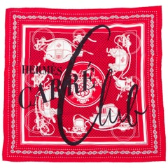 Hermes Ex-Libris Silk twill Carre Club 55cm Scarf, New in Box