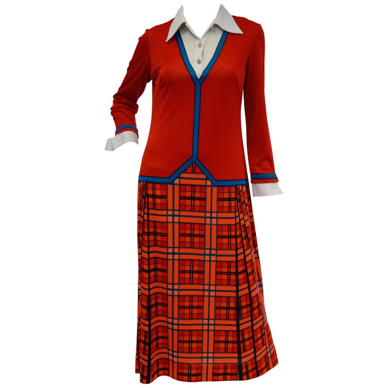 1970s Roberta di Camerino Red and Blue Trompe L'oeil Sweater & Skirt Midi Dress For Sale