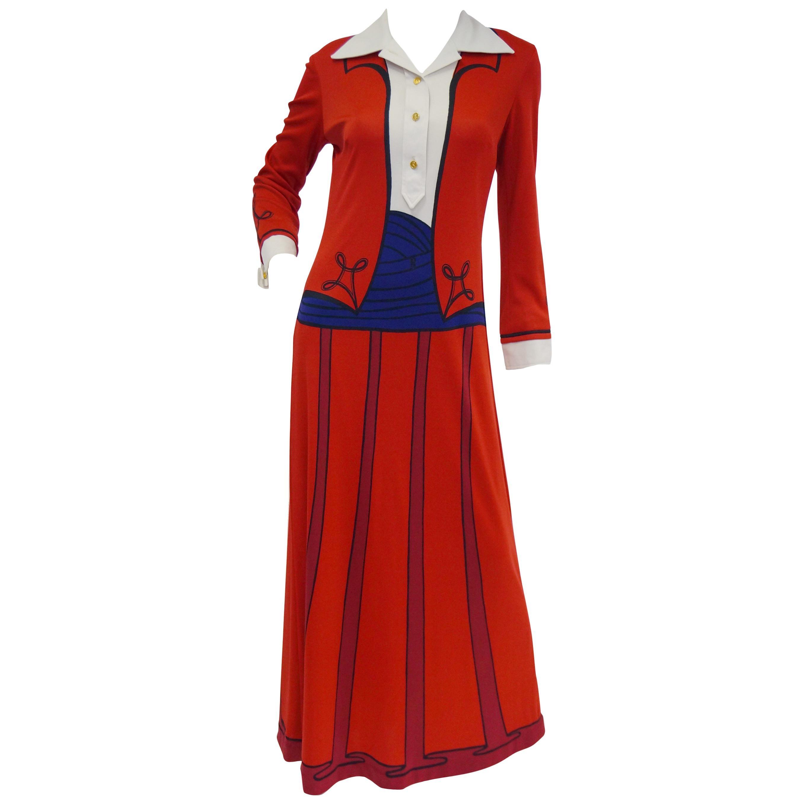 1970s Roberta di Camerino Red Tromple L'oeil Ensemble Maxi Dress