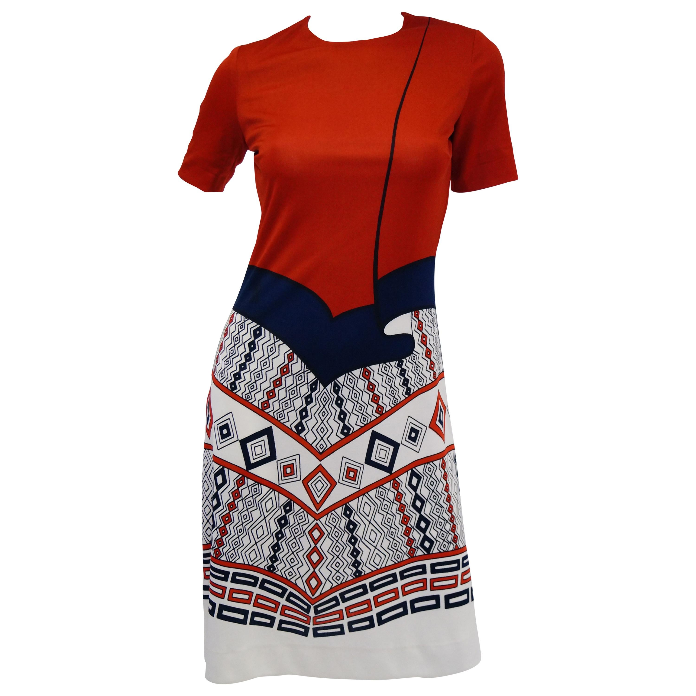 1970s Roberta di Camerino Red Blue and White Trompe L'oeil Dress
