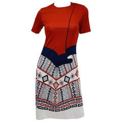1970s Roberta di Camerino Red Blue and White Trompe L'oeil Dress