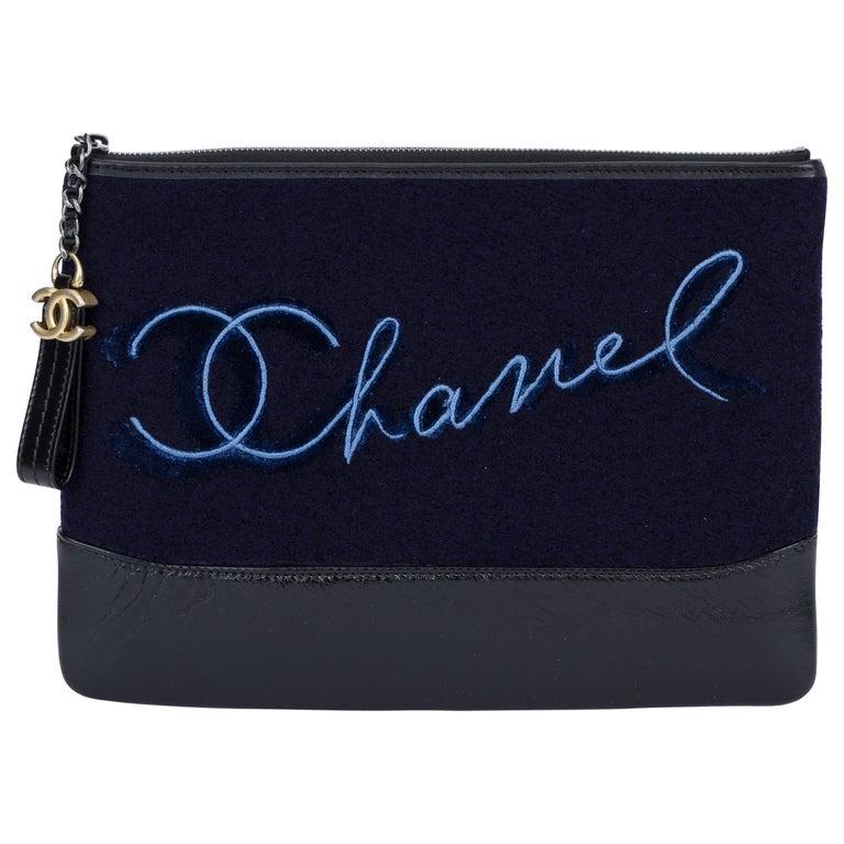 New in Box Chanel Navy Paris Salzburg Clutch Bag For Sale