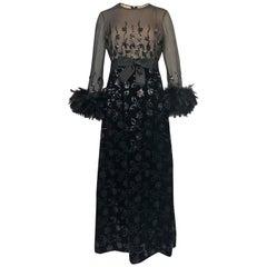 Documented Fall 1970 Oscar de la Renta Ostrich Feather & Sequin Silk Dress