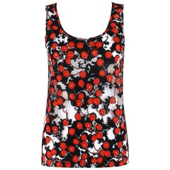 "ALEXANDER McQUEEN S/S 2003 ""Irere"" Black Semi Sheer Cherry Print Knit Tank Top"