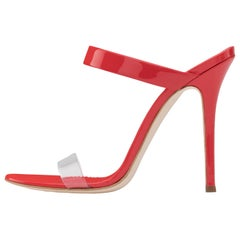Giuseppe Zanotti NEW Red Patent Leather Clear PVC Slides Mules Heels in Box