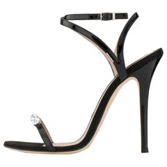4cb88e5b7f5f2 Giuseppe Zanotti NEW Black Patent Leather Crystal Evening Sandals Heels in  Box