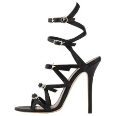 e38624f28185a Giuseppe Zanotti NEW Black Strappy Leather Logo Evening Sandals Heels in Box.  Giuseppe Zanotti NEW Black Suede Crystal ...