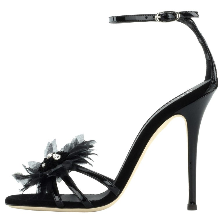 Giuseppe Zanotti NEW Black Patent Crystal Applique Evening Sandals Heels in Box For Sale