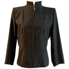 Alexander McQueen 1990s Grey Pinstripe Zipper Front Tailored  Blazer Jacket